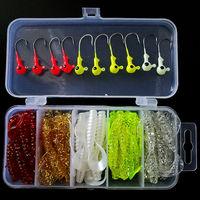 50pcs Soft Lures 10pcs Lead Hooks Set Box Classic Flexible Swimbaits Artificial Bait Silicone Lure Fishing