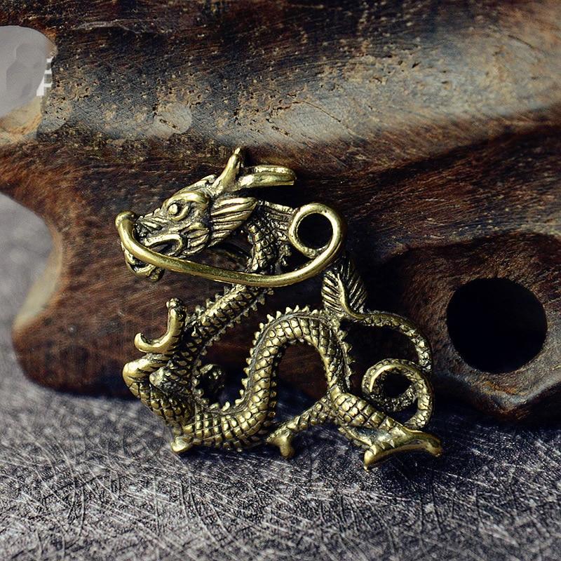 Dragon Head Keychain Craft Brass Metal Car Key Holder Gift Mini Statue Ornament