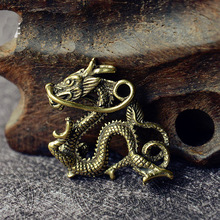 Mini Vintage Brass Dragon Statue Key Chain Pendant Decoration Ornament Sculpture Home Office Desk Ornament Funny Toy Gift