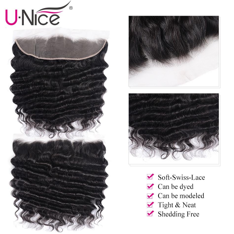 UNice Hair Loose Deep Wave 3/4 Bundles With Frontal Remy Human Hair Weave Bundles With Frontal Brazilian 3 Bundles With Frontal