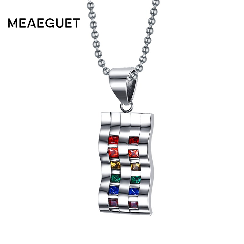 Meaeguet LGBT Fashion Double Row Rainbow Crystal Stone Necklaces & Pendants For Women Stainless Steel Party Jewelry