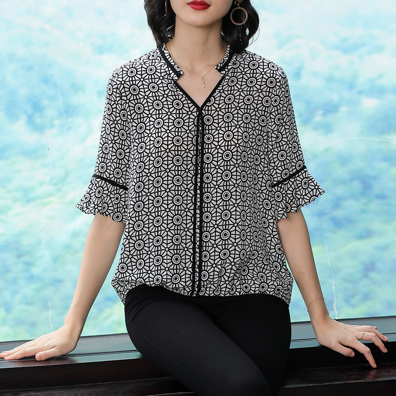 Black Polka Dot Blouse Plus Size Women Vintage Print Silk Chiffon Blouses Ruffles Sheer Shirt V neck 2019 Summer Loose Clothing in Blouses amp Shirts from Women 39 s Clothing