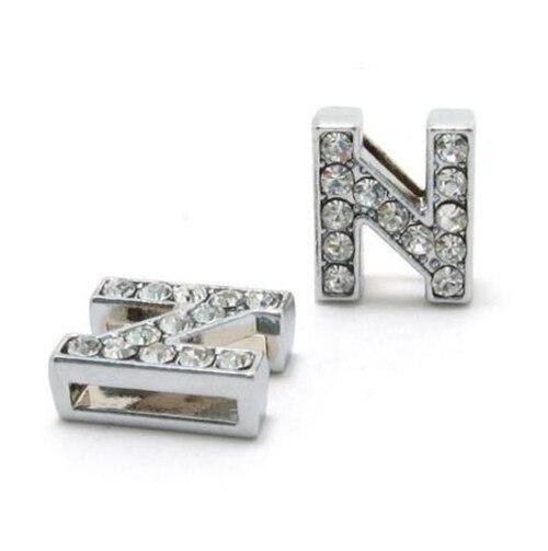 A-Z, 8 мм, стразы, кулон, буквы, подходят для DIY, подарок, шарм, кожаный браслет, браслет, пояс, ожерелье, ювелирные аксессуары - Окраска металла: N