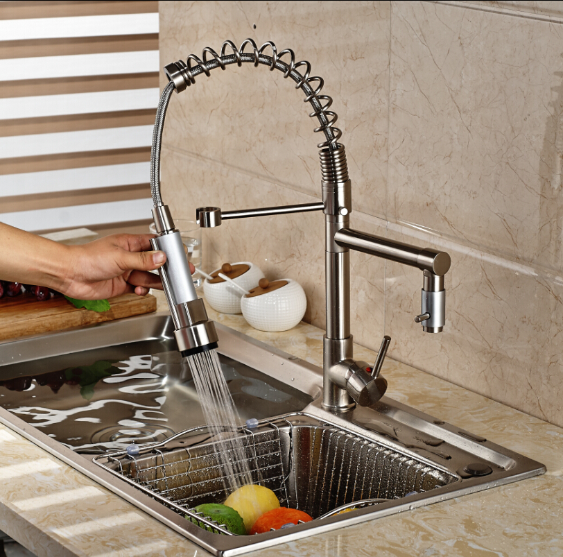Nickel Brushed Pre-rise Pull Down Dual Spout Kitchen Vessel Sink Faucet Mixer Tap Hot and Cold Water Tap Deck Mounted brushed nickel double handles spray stream brass water kitchen swivel spout pull out vessel sink deck mounted mixer tap faucet