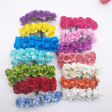 72Pcs/lot 2cm Diameter Artificial Paper Flower Head Mini Multicolor Rose Bouquet For Scrapbooking Wedding Party Decoration