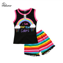c7bc50c69 pudcoco 1-6Y Kids Baby Girls summer clothing set T-shirt Rainbow print Tank  Tops colorful striped Shorts Outfits Clothes 2PCS
