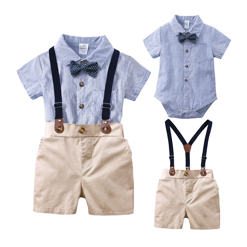 Party Suit 2Piece Infant Baby Boys Gentleman Outfit Set Bow Tie Cartoon Romper Suspenders Shorts Overalls