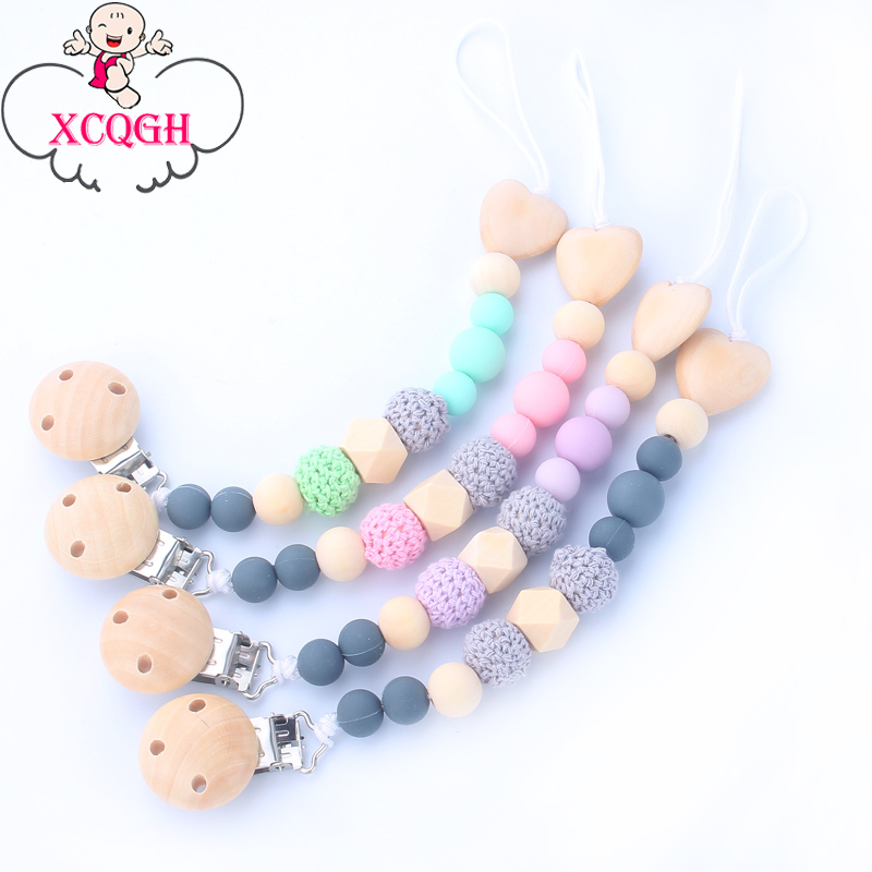 XCQGH Silicone Beads Wood Love Heart Beads Infant Toddler Boy Girl Pacifier Clips Chain Nipple Holder For Infant