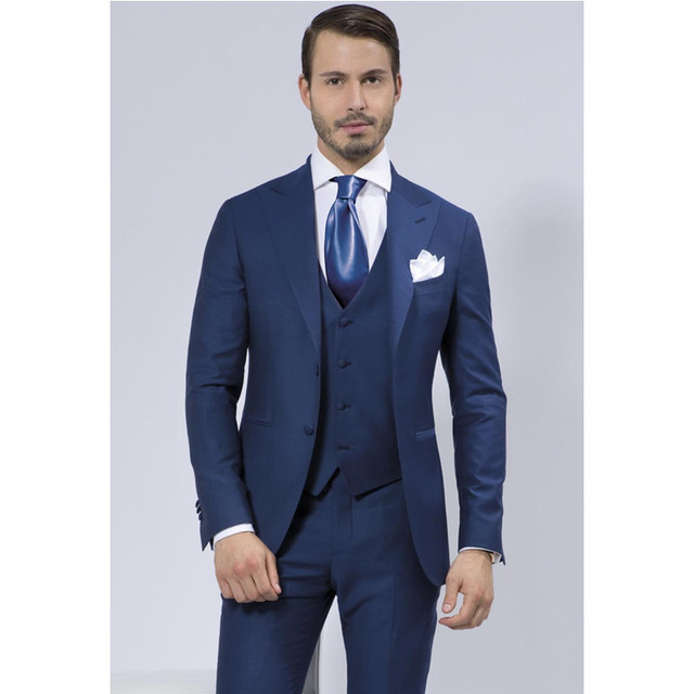 New Top Fashion New Smoking Navy Wedding Suits For Men Shawl Lapel ...