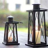 European vintage iron candle holder retro wind lamp Candlestick wedding photography props home decoration furnishings black