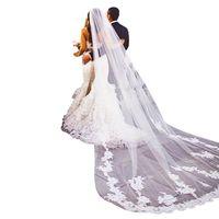 3×1.8M 1 Tier Women Floral Lace Appliques Cathedral Length Wedding Veil Cape Romantic Solid Color Soft Tulle Long Bridal Veil Bridal Veils