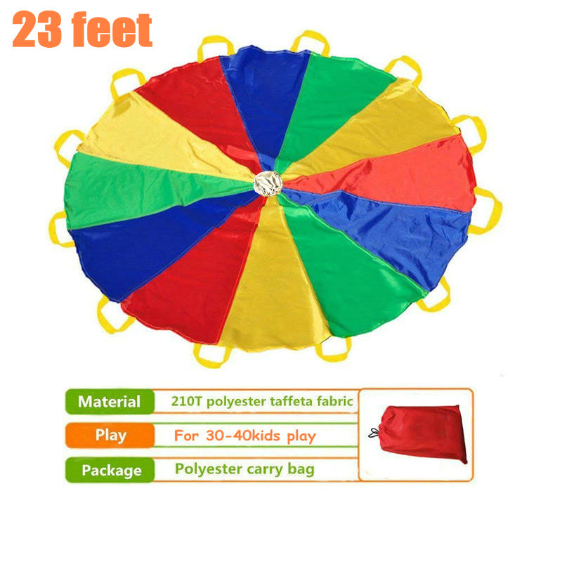 Children 210T Big Rainbow Parachute of 23feet/7meters with 32 Handles for 30-40 Kids Play Games, Rainbow Play Parachute kids parachute toy with handles play parachute tent mat cooperative games birthday gift lbshipping