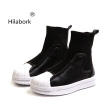 Hilabork Children s shell headboard shoes in the tube casual sports shoes 2018  autumn fashion wild boys bad2bbce1eca