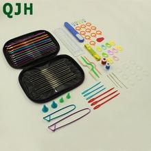 81pcs/set Crochet Hooks Set Ergonomics Knitting Needles Aluminum Weave Craft Sewing Collection with Purple Carrying Case