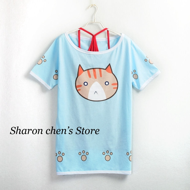Hoshizora Rin Cosplay Daily Cats Pattern Short Sleeve T shirt Anime Love Live Women Summer Tees 2 in 1