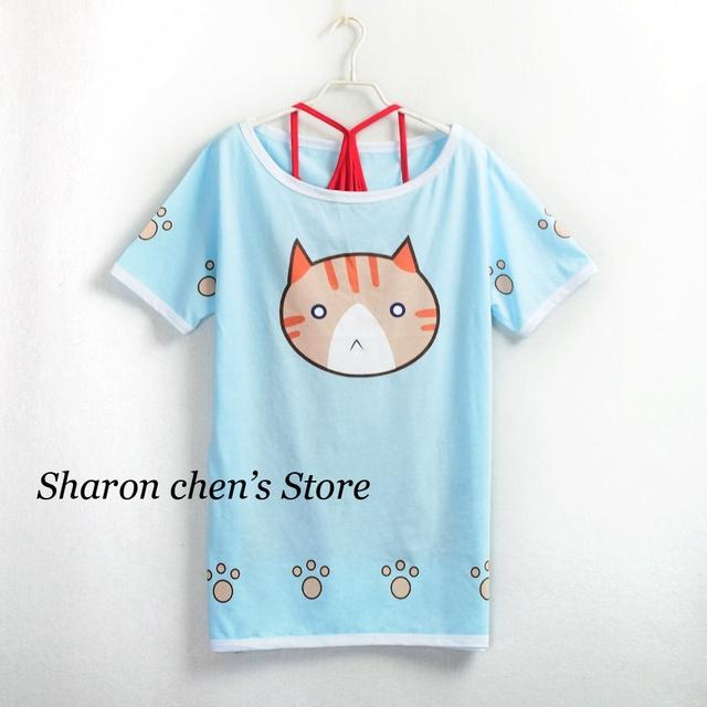 Hoshizora Rin Cosplay Diário Gatos Padrão Manga Curta camiseta Anime Love Live Mulheres Verão Tees 2 em 1