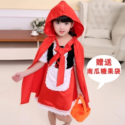 children kids halloween costume little red riding hood cape with dress girls fariy tale character figure party festiva