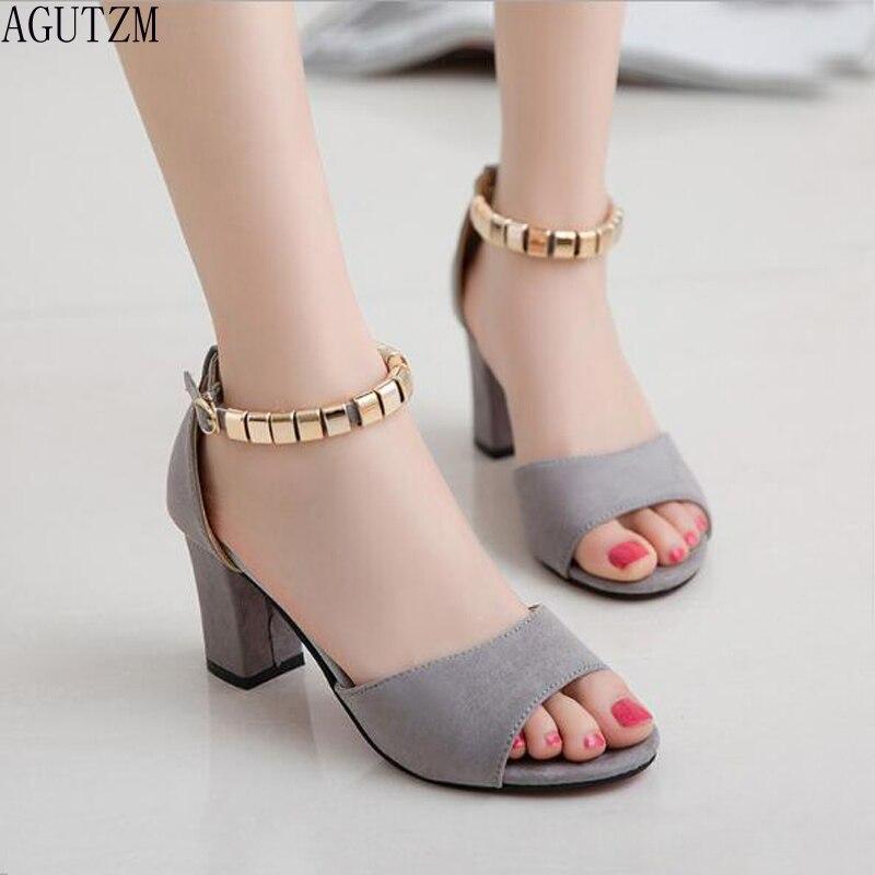 metal String Bead Summer Women Sandals Open Toe shoes Womens Sandles Square heel Women Shoes Korean Style Gladiator Shoe V373