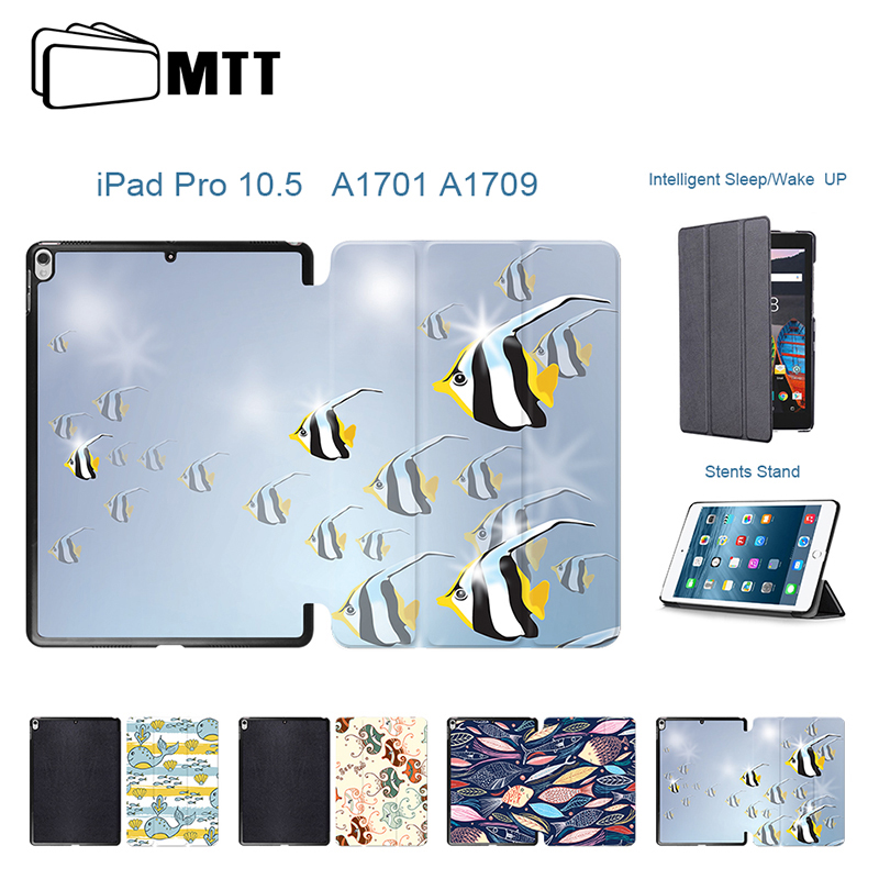 MTT Case For iPad Pro 10.5 inch Case Smart Cover Cartoon Fish Print Tablet Case Protective Shell For New iPad 10.5 2017 A1701