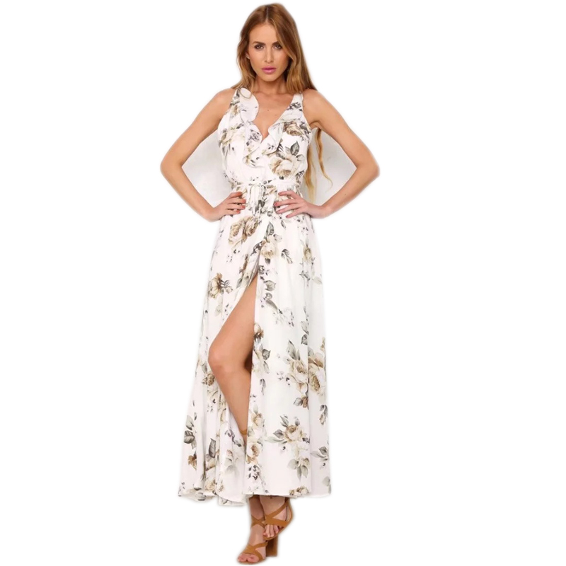 2018-Imprim-floral-Noir-Robes-Ruches-Retour-Bandage-Robes-Pour-Femmes -V-Cou-Dames-D-t.jpg 6dd90e4b98c