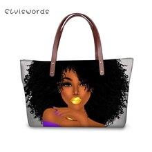 ELVISWORDS Fashion Womens Handbags African Girls Pattern Lady Totes Woman Large Cross Body Bags Sac a Main Purse