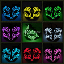 цена на 10 colors available Party led Mask Funny fox Halloween Carnaval Club Bar DJ Glowing DC-3V EL wire Flashing EL Masks