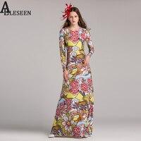 Luxury Maix Women Dresses 2017 Autumn Fashion Vintage New Full Sleeve Colourfull Garden Birds Print Ankle