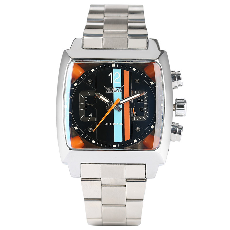 JARAGAR Mens Watches Top Brand Luxury Automatic Mechanical Watch Modern Business Colorful Square Unique Men Clock 2017 New Style jaragar classic dual movement design automatic quartz watches clock mens watches top brand luxury watch men skeleton wrist watch