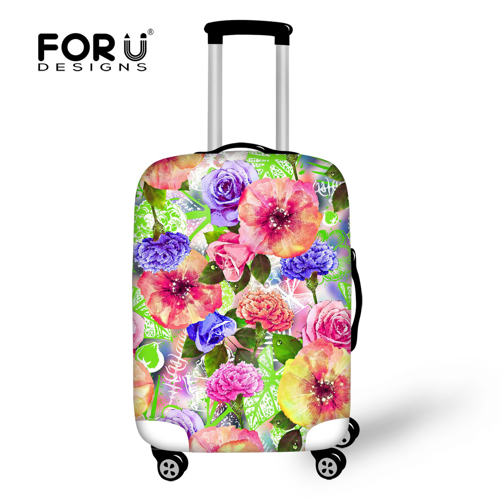 FORUDESIGNS Flower Print Suitcase Cover Durable Travel Luggage Protective Case For 18-30Inch Suitcase Elastic Travel Accessories