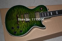Free shipping lp custom green color with maple flame top electric guitar/oem guitarra in china