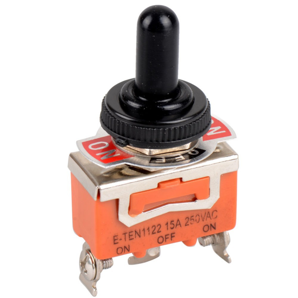 1 Piece SPDT Waterproof Switch Cap ON-OFF-ON Miniature Toggle Switches 15A 250VAC / 20A 125VAC VE180 P0.4 5 x on off small toggle switch miniature spst 6mm ac250v 3a 120v 5a
