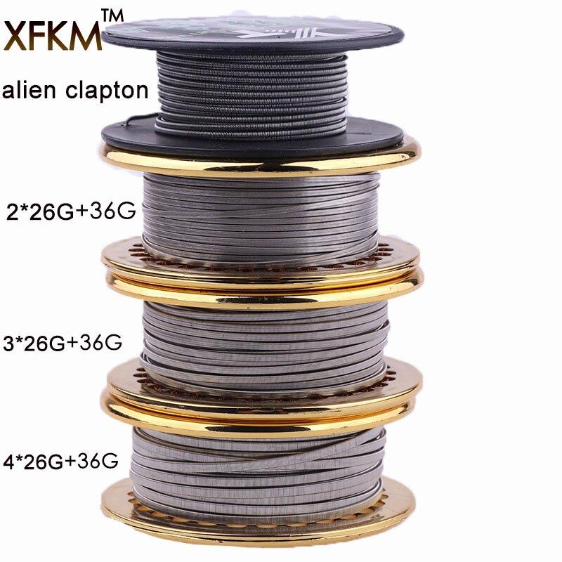 XFKM Hot 5 m/roll NUOVO Clapton Filo per RDA RBA Ricostruibile atomizzatore Cavi Riscaldanti Bobina Alien Clapton Filo di Riscaldamento A1 SS316 NI80