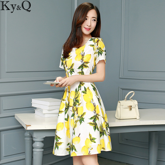 415fc6c0ac2c5 2018 Summer Yellow Lemon Printed Mini Dress Women Runway Short Sleeve  Female Party Pleated Dress Plus Size Tunic Clothing