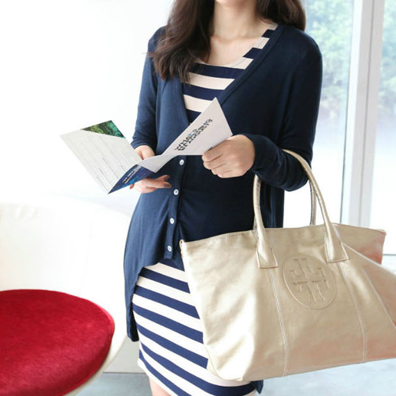 Spring autumn new fashion maternity clothes Stripe dress + cardigan Two-piece pregnant women dress