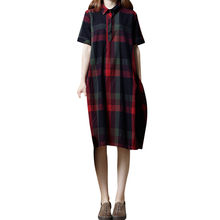 Women Dress Summer 2018 Retro Half Sleeve Casual Dress Straight Bohemia  Plaid Loose Pocket Dress Empire f488a9689ef3