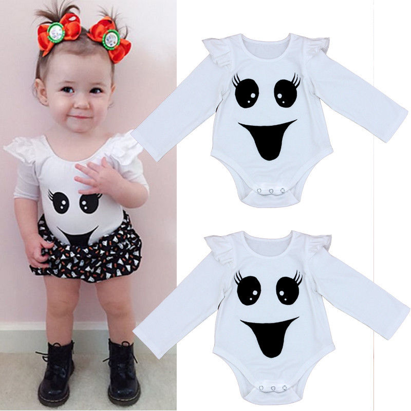 Newborn Infant Baby Girl Bodysuit Smiling Face Bodysuits Onesie Babies Girls Flying Sleeve Jumpsuit Outfits Clothes