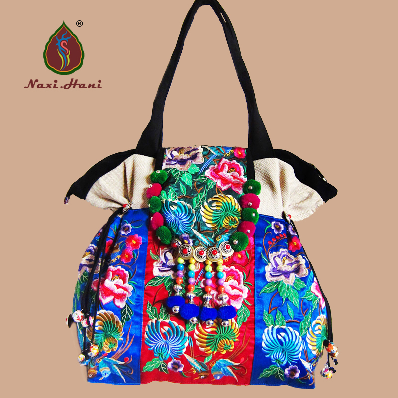 NEWEST Boho Flower edge canvas women bags brand Beige trapeze embroidered shoulder bags