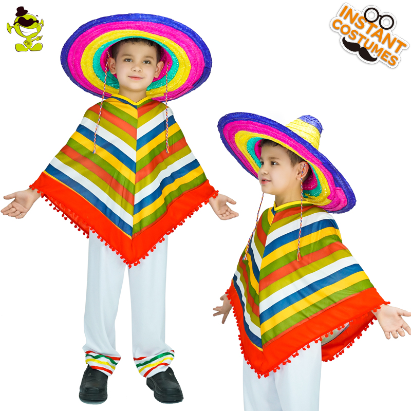 Boy's High Quality Mexican Rainbow Costumes Carnival Party Native Mexican Imitation Cape for Unisex Children Costumes