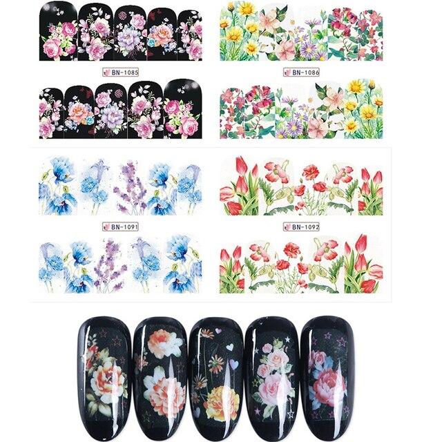 Us 133 1 Stücke Schwarz Volle Abdeckung Nagel Wasser Transfer Aufkleber Blau Rosa Blume Aufkleber Sliders Für Nail Art Dekoration Tattoo Bn1081