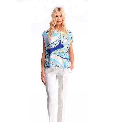 Women s fashion printing short sleeve round collar stretch slik jersey free shipping