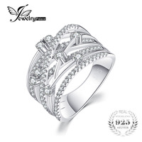 JewelryPalace Luxurious Round Cubic Zirconia Wide Band Cocktail Ring For Women Genuine 925 Sterling Silver Wedding