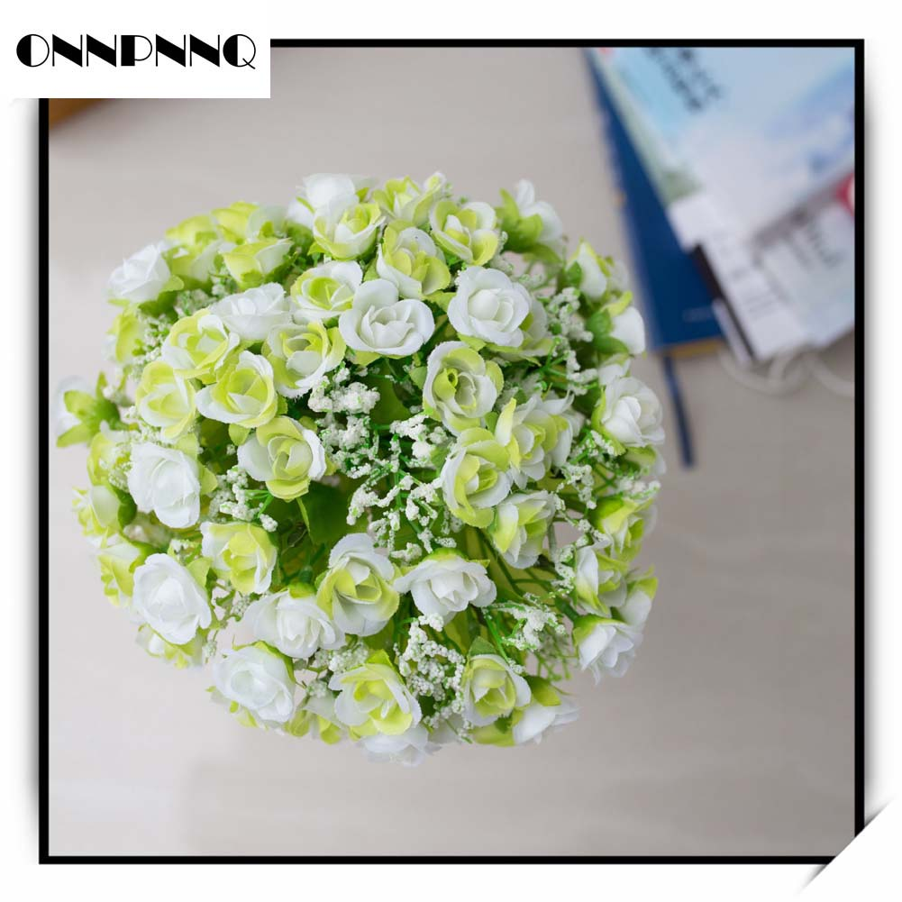 21 Head Artifical Plastic Rose Silk Flower Wedding Bouquet Office Home Decors
