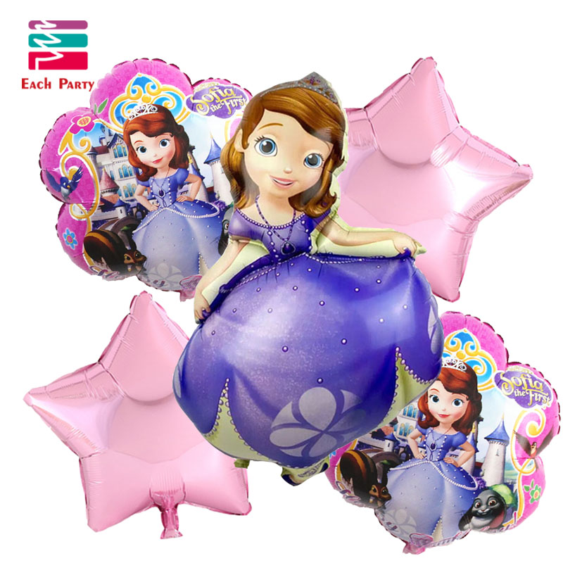 5pcs/lot Princess sofia birthday Balloons suit helium balloon princesa sofia fes