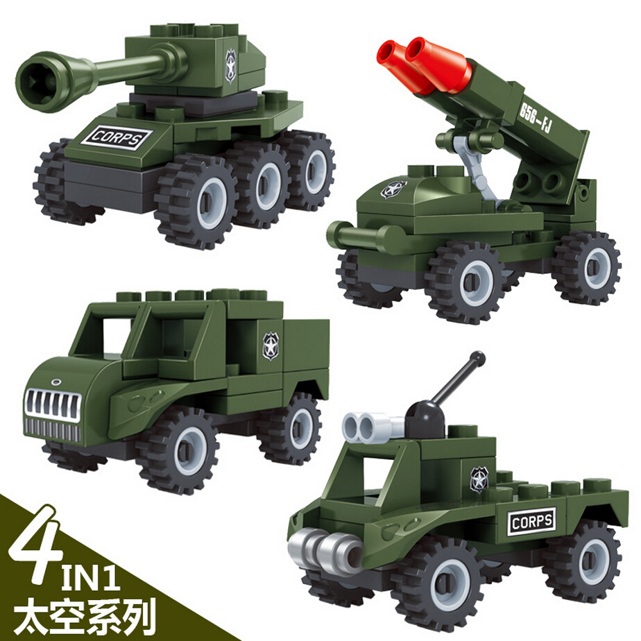 Military Vehicle Toys For Boys : Modern mini army vehicle military war building block