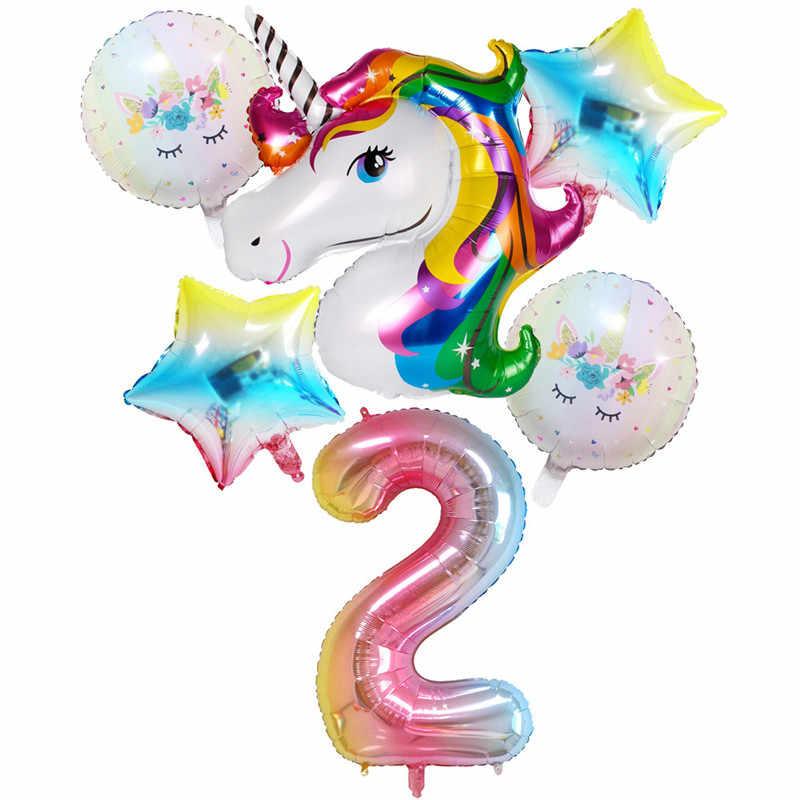 Taoqueen หมวกการ์ตูน Unicorn Party บอลลูนวันเกิดแพคเกจ Full Moon วันเกิดตกแต่งเด็ก Party