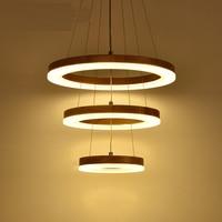Ring Kroonluchter LED Amerikaanse Dorp Woonkamer Hoofd Eenvoudige Restaurant Massief Houten Cirkel Nieuwe CL