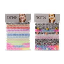 12 pçs tatuagem arco-íris gargantilhas colar estiramento henna gothic elástico feminino jóias