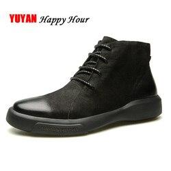 Camurça Botas De Couro Homens Sapatos de Inverno Genuínas Dos Homens de Couro do Tornozelo Botas de Sola Dura Não-deslizamento Moda Homem Marca botas A374