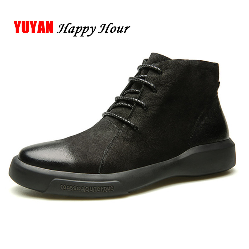 Suede Leather Boots Men Winter Shoes Genuine Leather Men's Ankle Boots Hard Outsole Non-slip Fashion Man Brand Botas A374