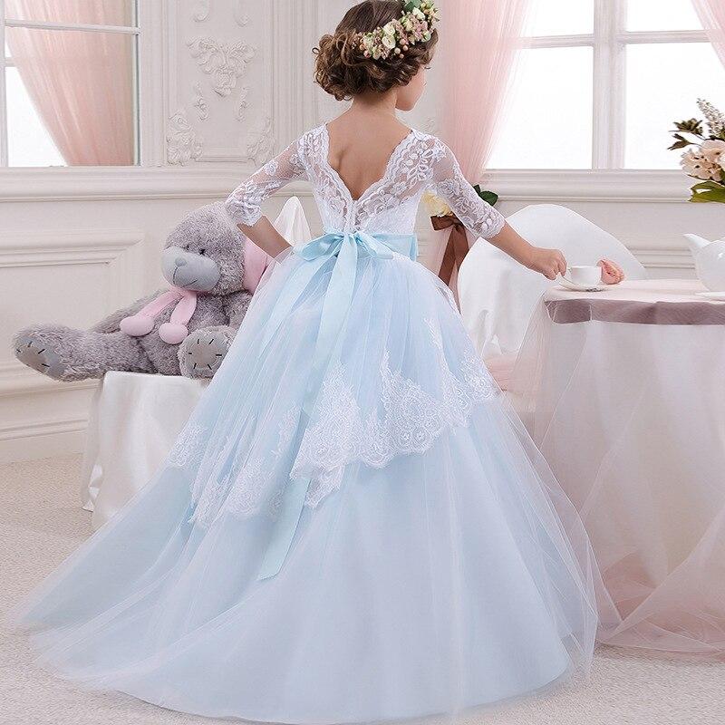 Girl     flower     dress   big bow children party   dress     girl   first communion   dress   Princess ball gown pageant costume vestido comunion